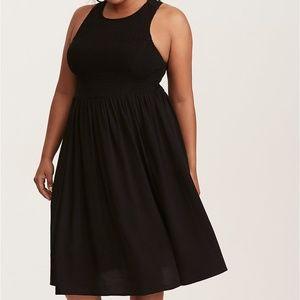 Torrid Black Smocked Challis Midi Dress Sz 3